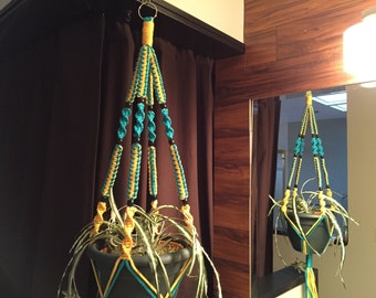 Macrame Plant Hanger Turquoise and Yellow Black BEADS