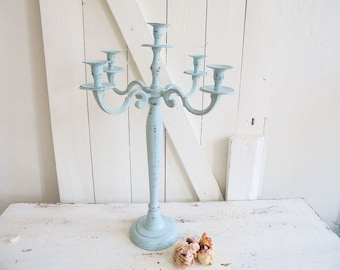 Candle holders 5 arms candle holder turquoise Shabby Chic decoration