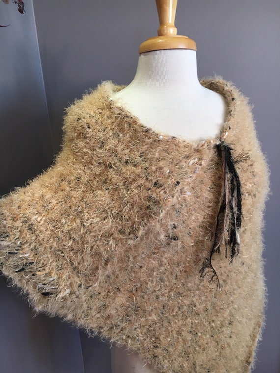 Woven Knit Fluffy draping fur-like Poncho, reversible, Huntress, Knit Shoulder wrap, tan beige poncho, accessories, knit sweater, knitwear