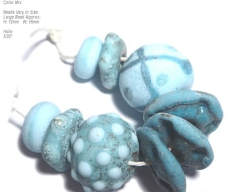 COLLECTION 76 Lampwork Bead Set Handmade - Ancient Look Matte Turquoise Blue Aqua  - Organic Design