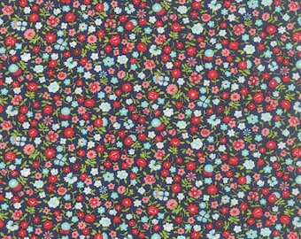 Fabric by Moda: Vintage Picnic by Bonnie and Camille, Turquoise with red, green and pink birds