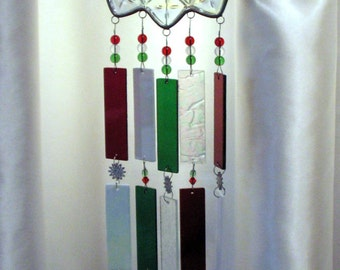 Snowflake Windchime Upcycled Federal Petal Plate with Handmade Stained Glass Chimes