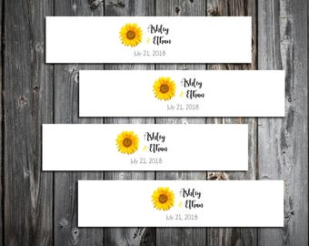 50 Sunflower Wedding Napkin Ring Cuffs Wraps. Personalized Favors