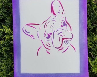 French bulldog OOAK spray painted picture
