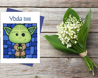 Yoda Greeting Card / Star Wars / Yoda Birthday Card / Funny Cards / Star Wars Puns / Greeting Card / Star Wars Yoda / Love cards for him