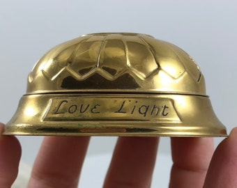 Vintage Antique Brass Love Light Engagement and Wedding Ring Box