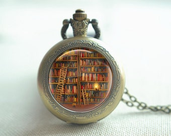 Bookshelf Pocket watch,bookcase pendant necklace,bookrack keychain,quartz watch,readding light picture jewelry, locket necklace gift (HB049)