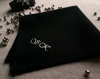 Black handkerchief, Mens Handkerchief, Embroidered handkerchief,  Personalized Hankerchief, Cotton anniversary gift for