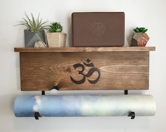 Yoga Mat Rack and Shelf with Custom Wood Burn Design | One of a Kind Wall Mounted Yoga Mat Holder