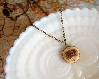 Accordion player vintage necklace- aged brass chain - music- polka