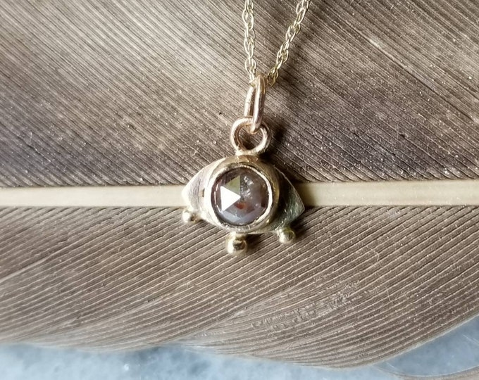 Featured listing image: 14k gold and rustic rose cut diamond eye pendant