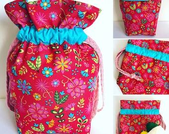 Small Knitting Project Bag, Crochet Bag, Drawstring Bag, Gift Bag, Fabric Bag, Storage Bag, Cosmetic Bag, Flowers, Leaves