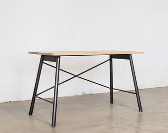 Intersecting Steel Desk - Ash + Natural Steel