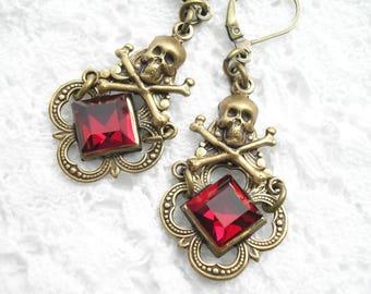 Garnet Red Glass Skull and Crossbones Earrings Antiqued Brass Dangle Earrings- Morning Glory Designs