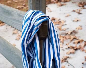Cotton Knit Infinity Scarf, Blue & White Stripes