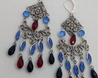 """""""The Peacock eye, indigo"""" Bohemian earrings"""