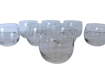 Midcentury  Roly Poly Glasses, S/8 Excellent