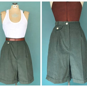 "High Waist Corduroy Shorts, High Waisted Shorts, Pleated Shorts, Wide Leg Shorts, Baggy Shorts, Cotton Shorts,  25"" Waist Medium"