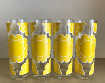 Yellow Sunflower Colony Glassware Collins Glasses | Set of Four | 1960s 1970s Flower Daisy Chrysanthemum