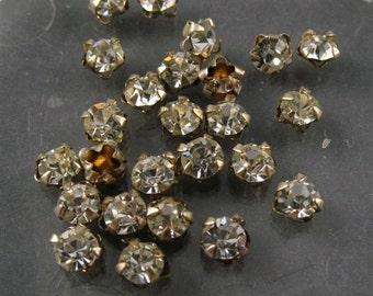 Vintage 3mm Rose Montee  sew ons - VERY SPARKLY Crystal