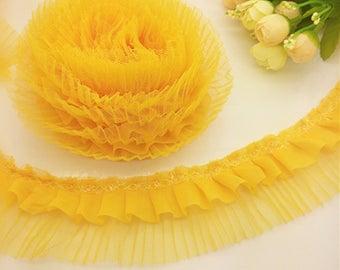 2 inch wide yellow  Lace Gathered trim price per yard