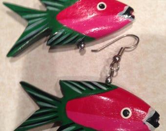 Vintage Wooden Fish earrings