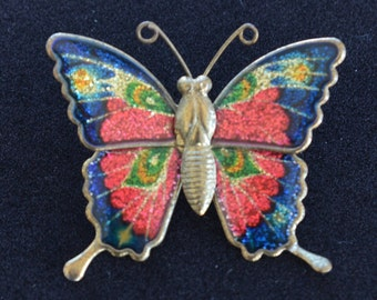 Pretty Vintage Multi-Colored Glitter Butterfly Pin, Lightweight, Gold tone (AP2)