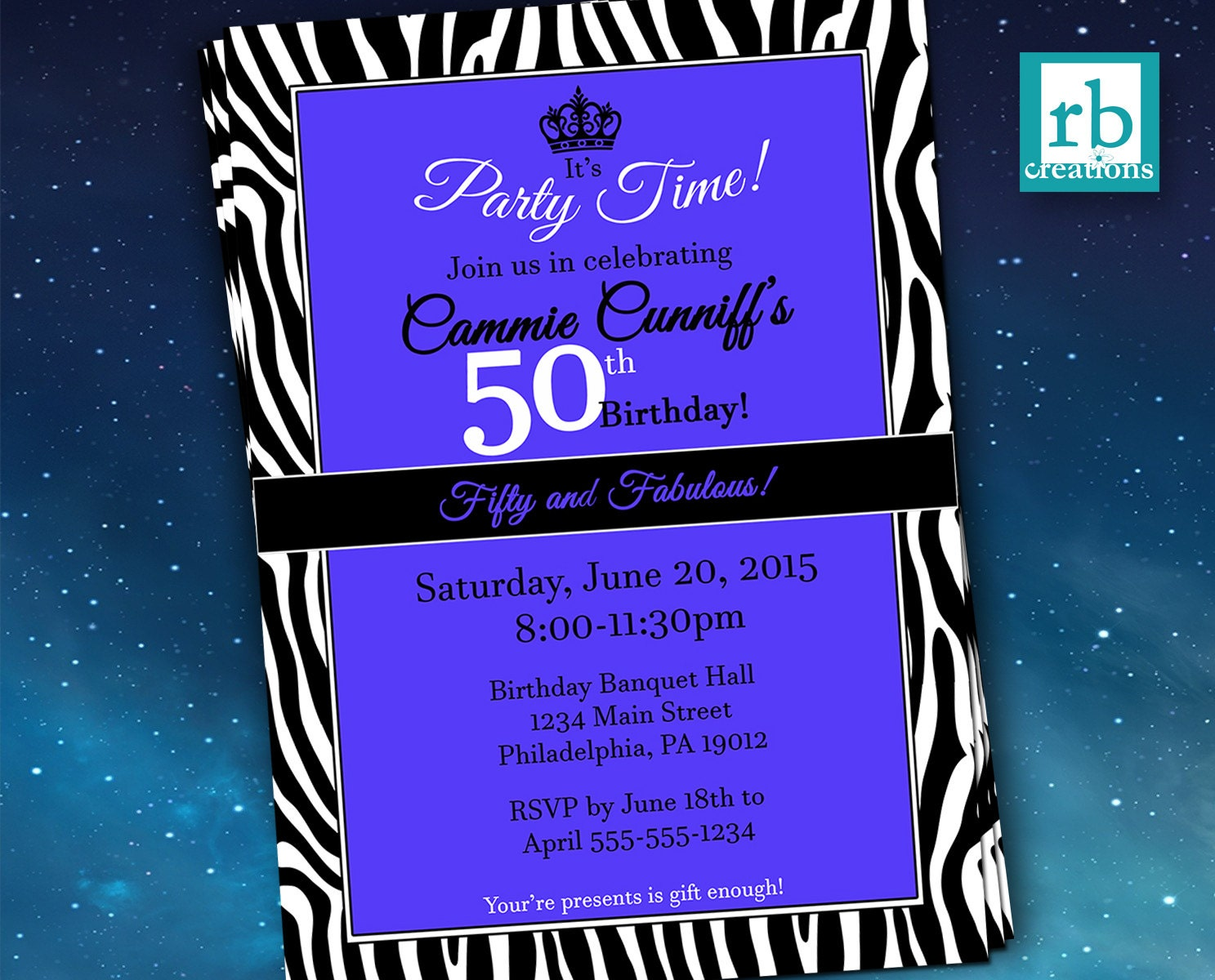 50th Birthday Invitation Zebra Invitations Fifty and Fabulous