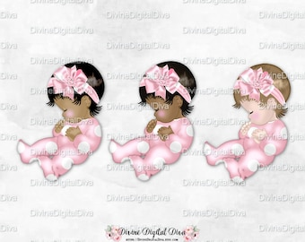 Sleeping Baby Girl Pink Dots Footie Pajamas Bow Headband | Clipart Instant Download