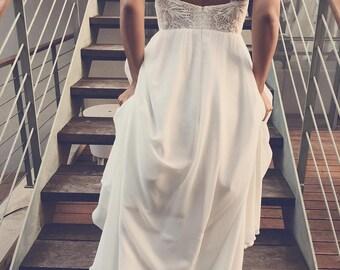 Halter Wedding Gown, Beaded Lace Top, Backless, Open Back, Beach Wedding Dress, Crochet Lace, Chiffon, KALAKALA, high slit, BOHO