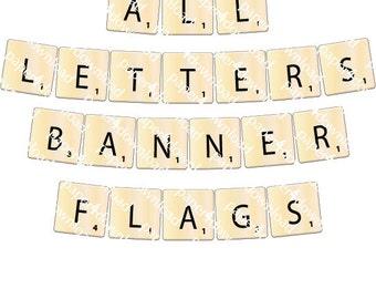 "Word Game Letter Tiles - Banner 7.5""x7.5"" Square Flag - Full A-Z & 0-9 - Set of 36 - Printable PDF"