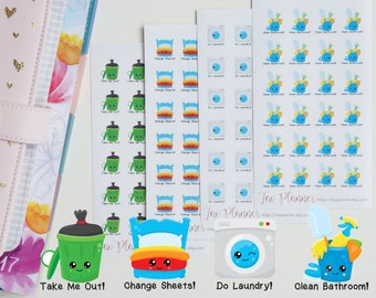 24 Kawaii Housework Stickers // Planner Stickers for Erin Condren, Happy Planners etc. Cute bin day | bed change | laundry | cleaning bucket