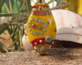 Dab O' Yellow~ lampwork focal bead- SRA lampwork- Lisa New Design