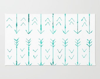 Teal Arrow Floor Rug - Room Rug - Throw Rug - Hand Drawn Teal Arrows - Made to Order