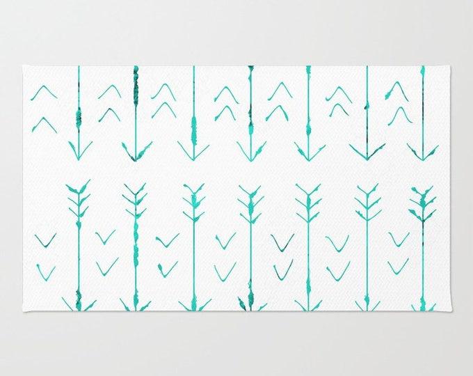 Teal Arrow Floor Rug - Room Rug - Throw Rug - Hand Drawn Teal Arrows - Made to Order