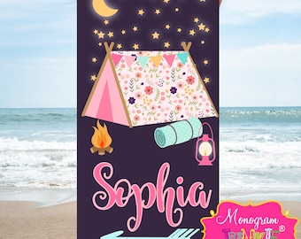 Personalized Happy Camper Beach Towel-Perfect for Summer Camp!