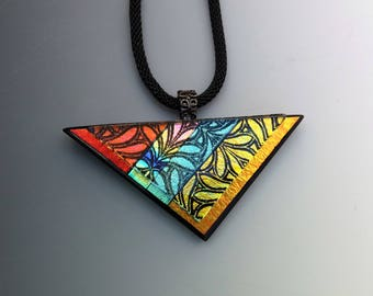 Copper and Gold Stained Glass Look Triangle Pendant, Zentangle Dichroic Glass Necklace, Contemporary Rainbow, Dimensional Glass Pendant