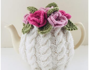 Floral Cabled Tea Cosy in Ivory & Pink - in Pure Wool - Size Medium - fits 6-cup teapots - MADE TO ORDER