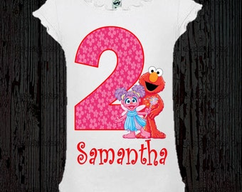 Elmo et Abby Cadabby filles anniversaire Shirt - Tee Style fille
