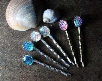 mermaid dragon scale fantasy hair pins, 4 colours, wedding, bridesmaid