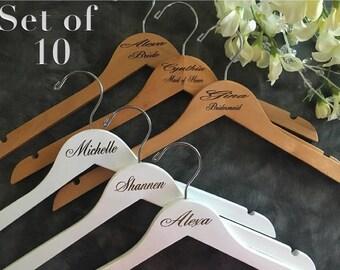 Set of 10 Laser Engraved Hangers/Laser Engraved Bridal Hanger/ Bride /Wedding Hanger/ bridal party gift/Engraved hanger/ wedding hanger