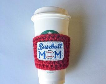 Baseball Mom Cozy ~ Crochet Coffee Cozy ~ Coffee Cozie ~ Reusable Cup Sleeve