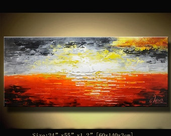 Modern Ocean painting Abstract Wall Painting., Modern Landscape Painting ,Palette Knife painting  ,Textured Painting on Canvas by Chen