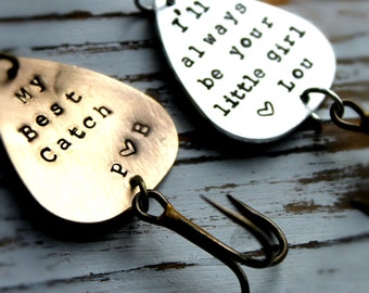 Personalized Hand stamped Brass Fishing Lure. Customized for you! Perfect Stocking Stuffer for Dad or Grandfather!