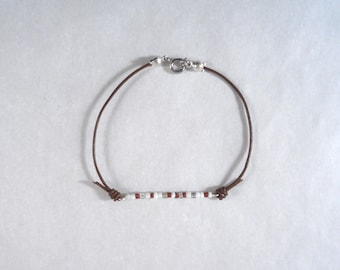 Brown Pearl Leather Bracelet white seed beads transparent polymer clay copper metal clasp
