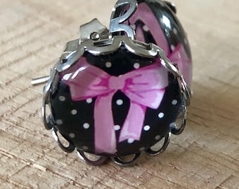Pink bow nickle free studs