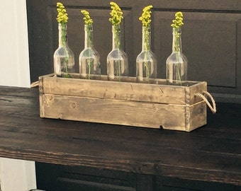 Rustic wooden box with bottle and jute rope handles