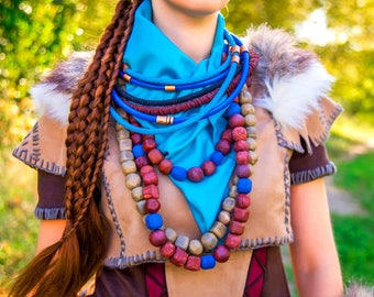 Aloy cosplay necklace Horizon Zero Dawn, ethnic post apocalyptic costume, nora tribe machines huntress, Video game