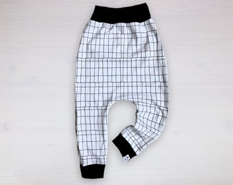 Monochrome Tech Grid Harem Pants
