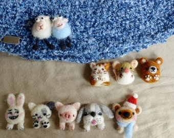 Needle felted animal buttons- sheep, rabbit, bear, cat, mouse, dog, pig each sold individually